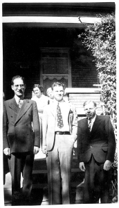 L-R Julius Schwartz, Otto Binder, Raymond A. Palmer (1938) From the Collection of Robert A. Madle